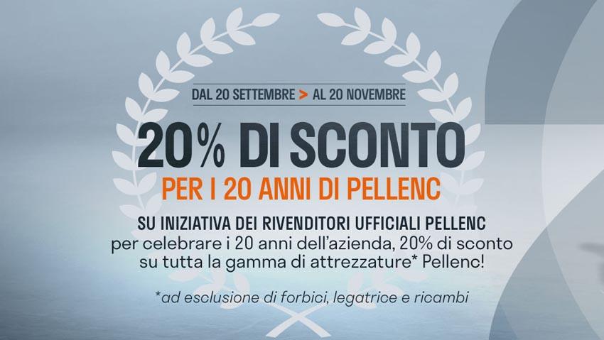 Sconti sulle attrezzature per i 20 anni di Pellenc Italia