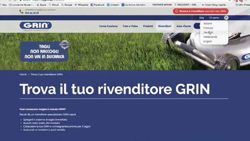 Rasaerba Grin, presentazione del nuovo sito