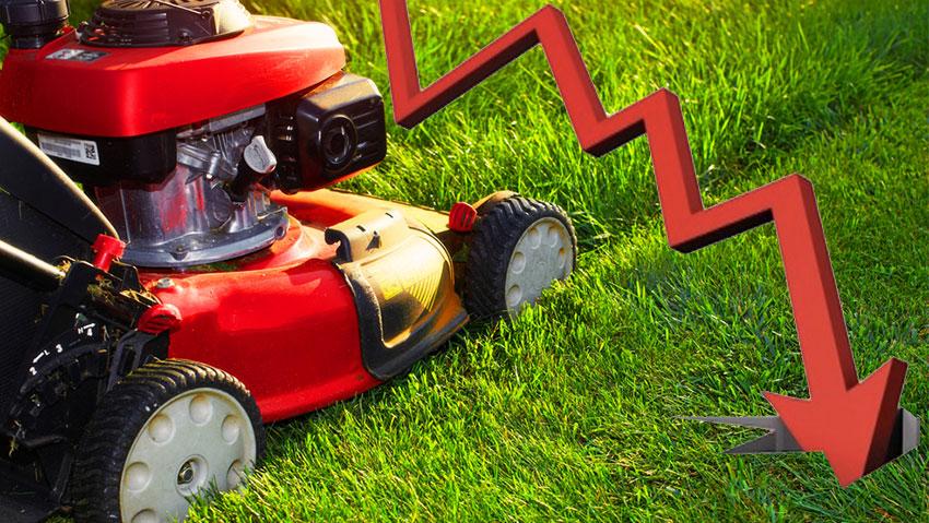 Macchine per il giardinaggio, mercato a picco
